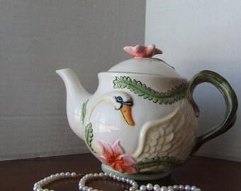Teapot, Swan Teapot, Floral Teapot, Unique Swan Teapot, Cottage Chic Floral Teapot, Iris Teapot, Swan Collector, Tea Party Teapot, Teapot