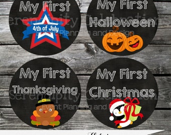 Baby Holiday Stickers, Baby Milestone Stickers, Baby Bodysuit Sticker, Baby Shower, Photo Prop, Set of My First Stickers, Holidays, Gift
