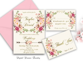 Spring Floral Wedding Invitation Printable Boho Wedding Invitation Suite Romantic Wedding Invitation Blush Pink Wedding Invite Rustic