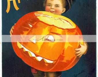 Instant Download Printable Art - Vintage Halloween Boy with Pumpkin Jack O'lantern Antique Postcard Art Image - Paper Crafts Altered Art