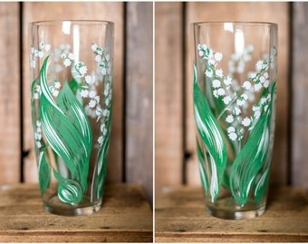 Vintage Vase - Lilly of the Valley Vase - Vintage Flower Vase - Clear Glass with Lilly of the Valley Floral Design - White Flowers