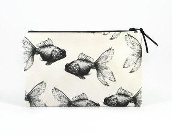 Clutch wallet, Women wallet, Goldfish, Purse organiser, Zipper clutch, Clutch zipper bag, Clutch purse, Large wallet, Clutch Zipper pouch