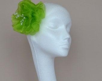 citrus green flower hair accessory, fascinator, handmade