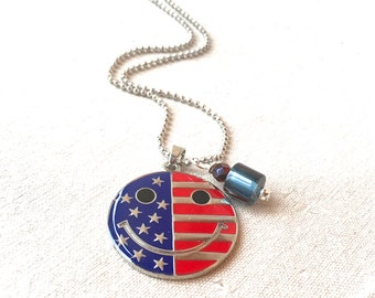 Smiley Face Necklace patriotic charm necklace American flag jewelry flag necklace happy face necklace 4th of July red white and blue jewelry