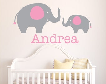 Personalized Girl Name Wall Decal - Elephant Wall Decal - Baby Girl Name Decal - Nursery Wall Decal - Elephants Vinyl Wall Art Decal