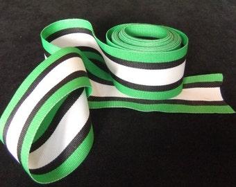 Bright Green, Black, and White Stripe Grosgrain Ribbon, 3 Yards