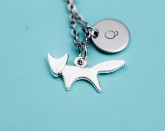 Silver Fox Charm Necklace Silver Fox Necklace Fox Charm Necklace with Personalized Hand Stamped Initial Charm on Stainless steel chain