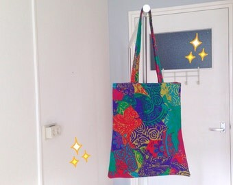 hand made tote bag - colorful tote bag - eco friendly hand bag - retro market bag - vintage shoulder tote bag