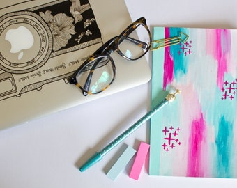 Spring Fling - Hot Pink and Blue Hand painted Notebook