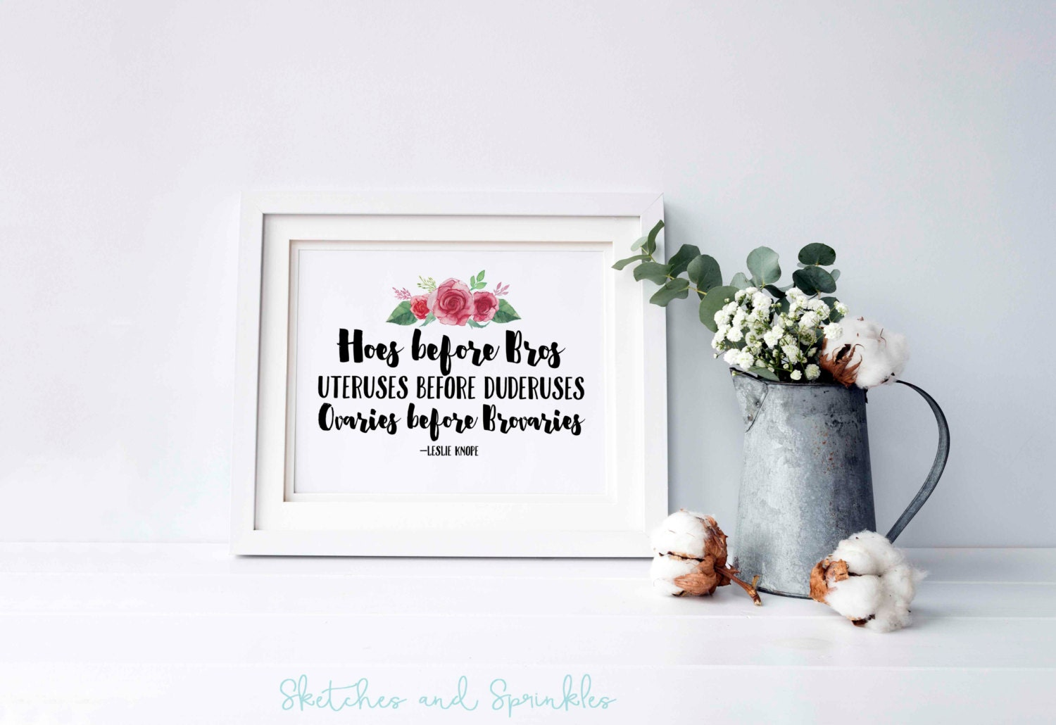 Hoes before bros printable home decor wall art funny quote for Funny home decor