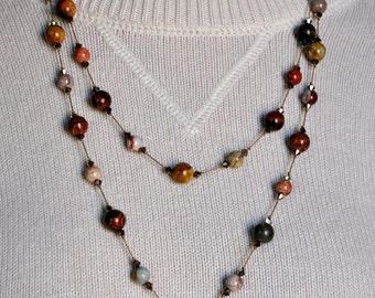Handmade Necklace, Handknotted Necklace, Red Creek Jasper Beads, Extra Long Necklace, Long Beaded Necklace, Jasper Bead Necklace