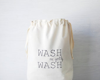 Large natural canvas laundry bag WASH. Cloth storage. Personalized fabric bag. Dorm hamper. Drawstring bag. Laundry room decor. Storage bin