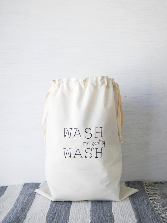 Large natural canvas laundry bag WASH. Cloth storage.