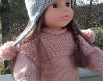 """Bunny Hat With Matching Sweater for 18 """" doll"""