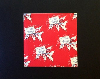 "Christmas Gift Wrap - Waner Press - Glad Tidings Red and White Print - 19"" X 25"" Single Sheet - Vintage 1960 - Flat Sheet Paper"