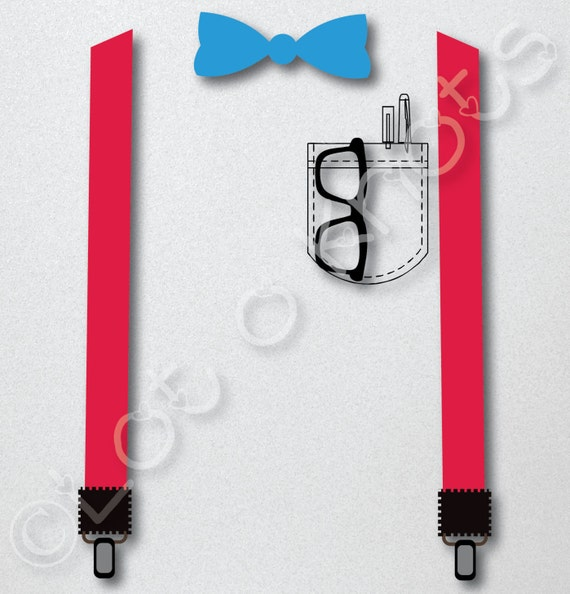 Suspenders Bow Tie And Pocket With Pens Amp Eye Glasses Set