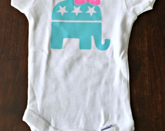 GOP Baby! Republican elephant bodysuit for baby girl or boy long or short sleeve