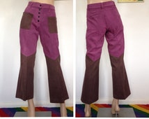 Vintage 60s 70s Flares High Waisted Block Colour Bell Bottoms Jeans Trousers Retro Kitsch Psychedelic Groovy Funky Hippie Hippy Mod Hipster