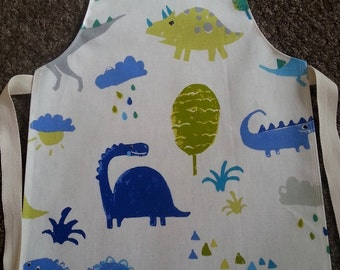 Child's Wipeable Dinosaur Oilcloth Apron