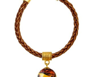 Murano Glass Bead and Leather Bracelet 'Isabella' by Mystery of Venice, Italy, Amber Glass Bracelet, Murano Glass Jewelry, Glass Beads
