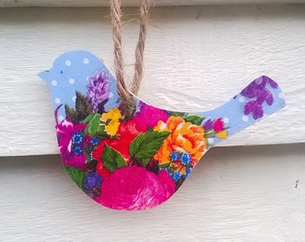Wooden Bird, Floral Bird, Hanging Wooden Decoupage Bird