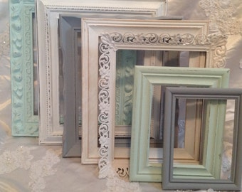 Shabby Chic Picture Frame Set Ornate Mix Custom Colors And Sizes Vintage Frames Upcycled Nursery Frame Set