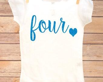 4th Birthday Outfit, Fourth Birthday Shirt, Four Birthday Shirt, 4th Birthday Girl, Fourth Birthday Girl, Fourth Birthday Outfit Girl, Four
