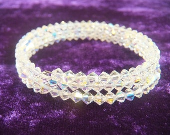 Swarovski 4 mm Bicone Faceted AB Crystal Memory Wire Wrapp Bracelet.