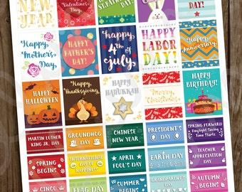 PRINTABLE Holiday Planner Stickers | Pdf Jpg Files | US Holiday Sticker | Calendar Planner | fits Erin Condren | Easter Halloween Christmas
