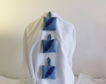 Lavender sachets from re-purposed linen and  cotton matelasse indigo dyed & hand block printed