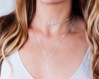 Silver Choker Necklace, Celtic Choker Necklace, Layering Choker, Celtic Knot Jewelry, Boho Choker, Tattoo Necklace, Dainty Choker Silver