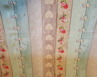 Vintage look Shabby chic heart fabric by the metre