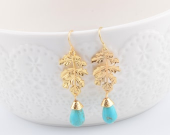 Wedding earrings Gold Twig Earring Turquoise earring Bridal earrings  Long Earrings Bridal Jewelry Girlfriend Gifts Best friend gifts
