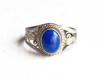 Vintage Native American Sterling Silver and Dark Blue Stone Azurite Ring Size 7
