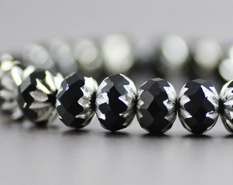 Czech Glass Crullers Black and Silver 9x6mm