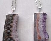 Raw Amethyst Slice Necklace / Silver Amethyst Slice / Natural Amethyst Pendant / Silver Edged Raw Amethyst Slice Necklace //GP24