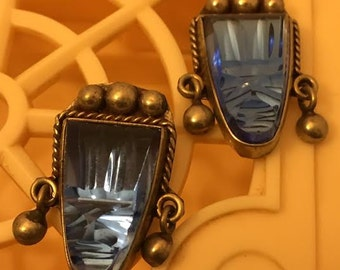 Vintage Silver TaxcoTribal Mask Screwback Earrings in Electric Blue glass Reduced from 45.00! Think Gift!