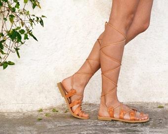 ATHENA, Gladiator sandals, Lace up sandals, Leather sandals, Greek sandals