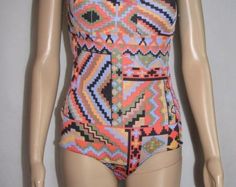 Unique SWIMSUIT one piece SWIMWEAR Benger Ribana made in Westerm Germany retro BATHING suit vintage swimsuit