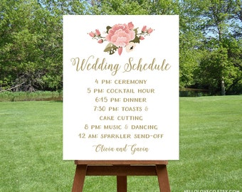 PRINTABLE Wedding Schedule Sign, Custom Wedding Program Sign, Pink Peony Reception Sign, Wedding Itinerary, Order of Events Sign, DIGITAL