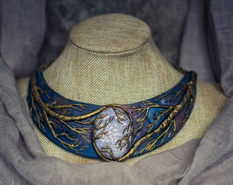 Statement necklace Bib necklace bright necklace faux opal necklace polymer clay necklace