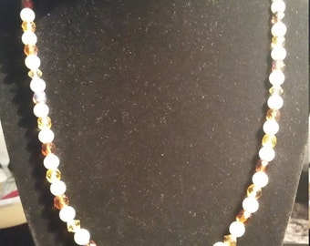 Hand Made Faux Pearl and Faceted Glass Bead Necklace