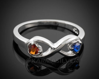 Silver Infinity Ring .925 Sterling Silver Infinity Dual Heart CZ Birthstone Ring (sizes 4-11)