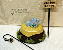 Fairy Garden Party Kit 3 Piece Set/Miniature Garden Table Set/Fairy Decor/Fairy Garden Tree Trunk Table, Sign and Bell/Container Garden Kit