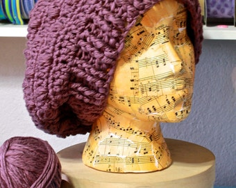 Handmade Crochet Perfect Bobbled Slouchy Beanie Hat Purple Cream