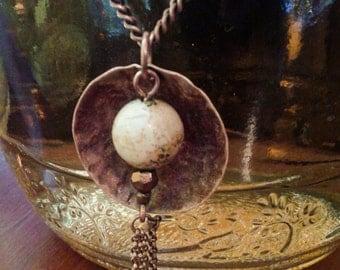 Picture jasper & copper pendant on copper chain