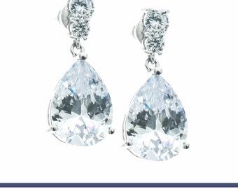 Bridal Earrings, Wedding Jewelry, Wedding Earrings, CZ Earrings, Crystal Earrings, Teardrop Earrings, Bridal Jewelry, Bridesmaids Earrings
