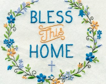 "3.91""W Small Bless This Home with Laurel and a Small Cross Embroidery Design - Instant Digital Download"