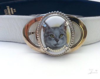 Cat belt buckle, Steampunk kitty, Cat with necklace, Gray short hair, Cat show, Woman's belt buckle, Free shipping gift, Eyesofanastasia