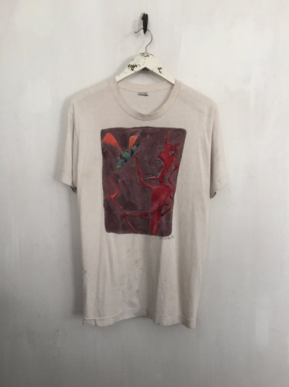 Devil shirt 1986 vintage t shirt art shirt destroyed tee for Dingy white t shirts